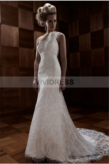 Serious Sheath/Column Lace One Shoulder Sleeveless Backless Chapel Train Lace Wedding Dresses UK