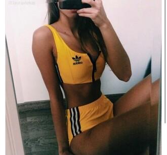 underwear set adidas yellow short hot pants s