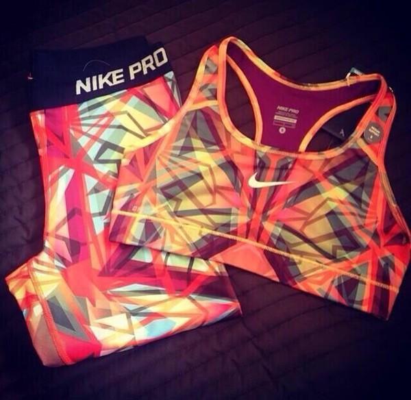 top nike sports bra sportswear spandex nike pro mosaic top just do it tights