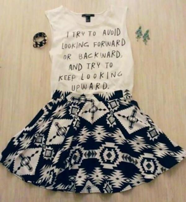 shirt cute weheartit lovely girly skirt black white bracelets earrings quote on it