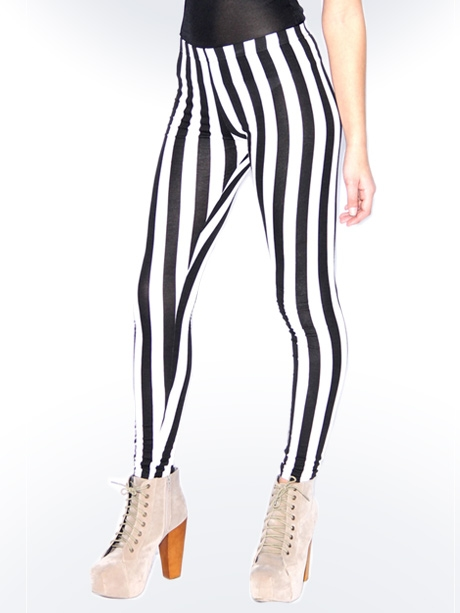 Striped Leggings Black And White - The Else