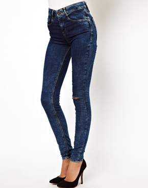 ASOS | ASOS Ridley High Waist Ultra Skinny Jeans in Dark Acid Wash with Ripped Knee at ASOS