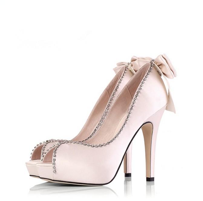 Newly Peep Toe Beading Bowknot High Heel Wedding Shoes - Boots   RebelsMarket