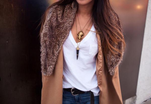 jacket coat faux fur coat jewels