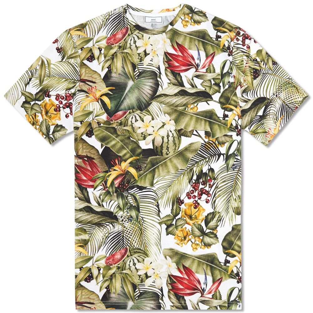 AMI Tropical All Over Tee (White)