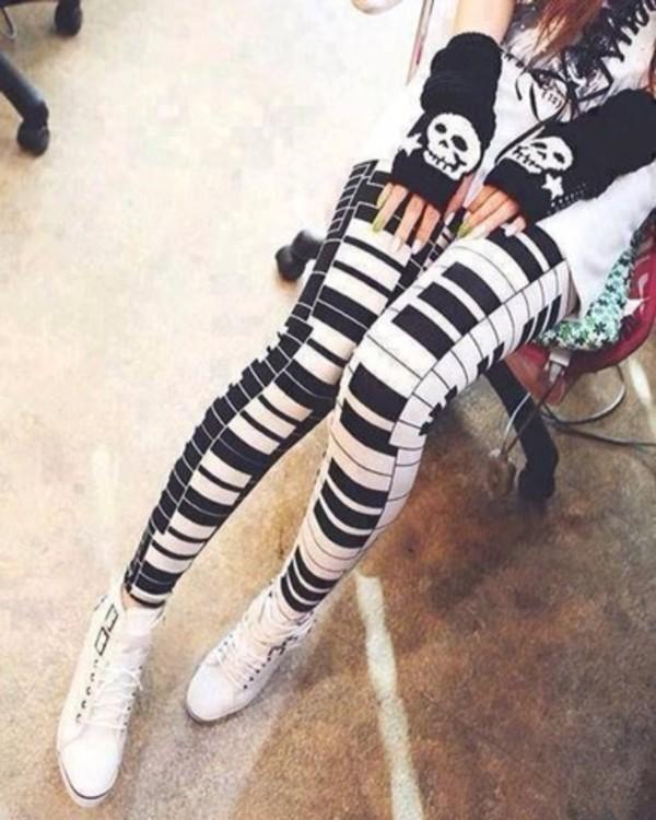 pants leggings piano keys black and white