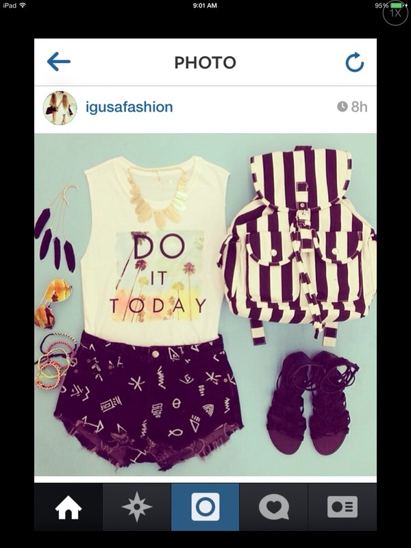 tank top do it today palm tree print mixed prints clothes color/pattern shorts bag shirt