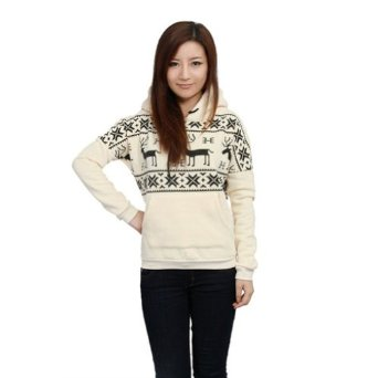 Amazon.com: Winter Womens Ladies New Deer Hooded Hedging Loose Sweater (White): Clothing