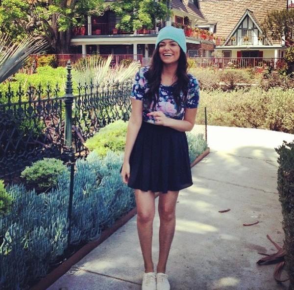 t-shirt mint floral crop top black skater skirt skirt