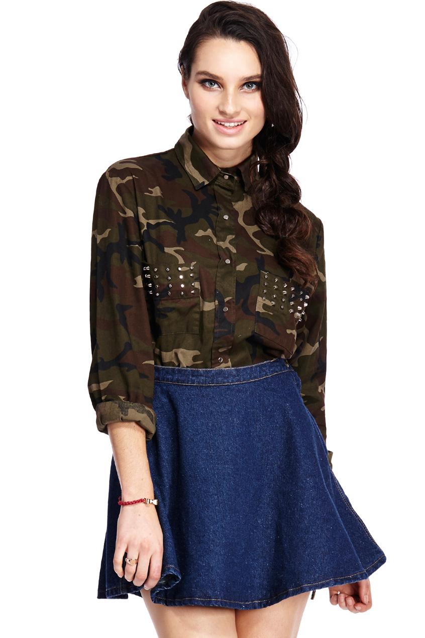 ROMWE   Riveted Pockets Camouflage Shirt, The Latest Street Fashion