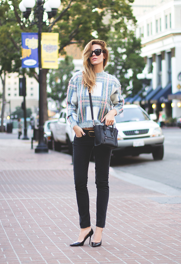 sunglasses sweater bag belt shoes