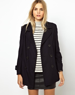 Gloverall | Gloverall Classic Double Breasted Reefa Coat in Wool Cashmere Mix at ASOS