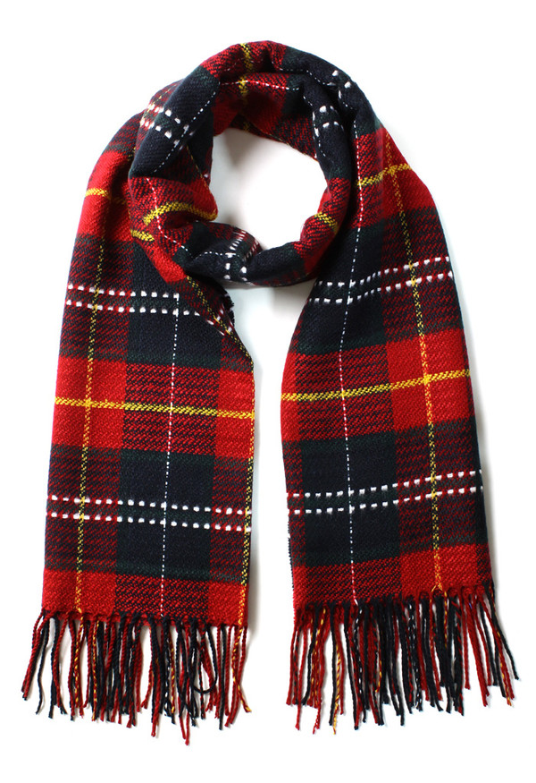 scarf scotland check fringes red