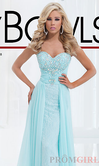 Prom Dresses, Celebrity Dresses, Sexy Evening Gowns - PromGirl: Strapless Dress with Lace Underlay