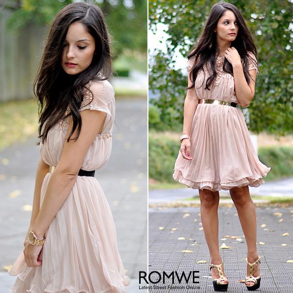 ROMWE | Beaded Pleated Layered Apricot Dress, The Latest Street Fashion
