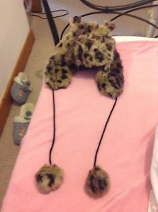 Leopard Animal Bear Ears Hat Riverisland Faux Fur Tesco F&F Winter Cute | eBay