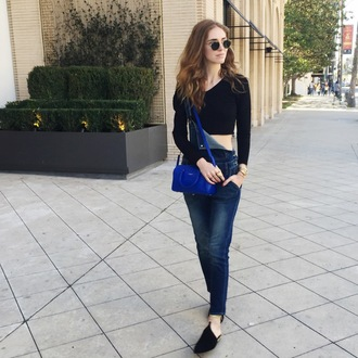 the blonde salad blogger denim overalls black crop top blue bag