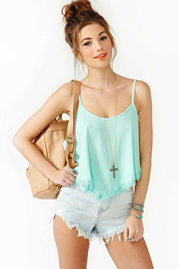 Summer Lace Crop Tank - Mint in  Clothes at Nasty Gal