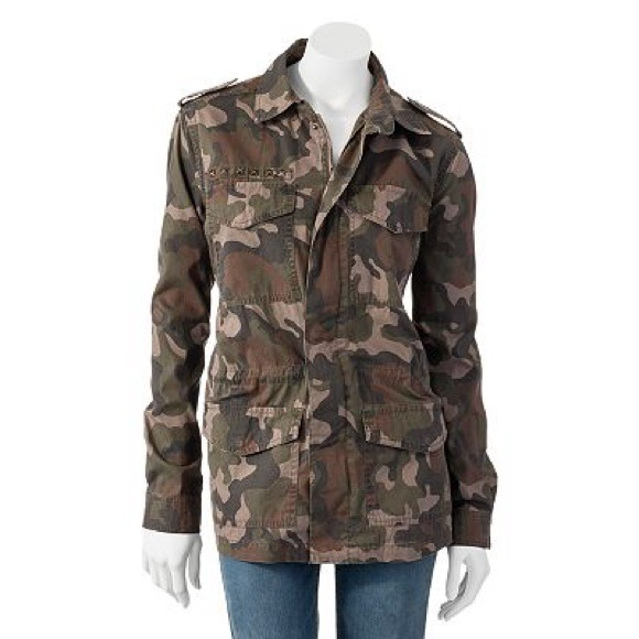 50% off Mudd Jackets & Blazers - Mudd Camouflage Studded Military Jacket from Kay's closet on Poshmark
