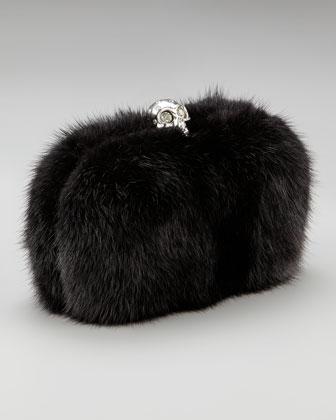 Alexander McQueen Mink Skull-Clasp Clutch - Neiman Marcus