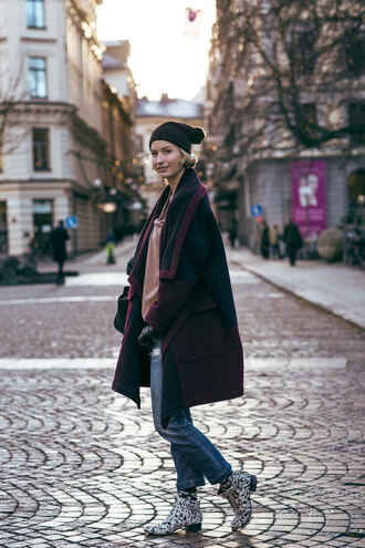 zanita blogger coat jeans winter coat ankle boots pom pom beanie hat sweater bag shoes