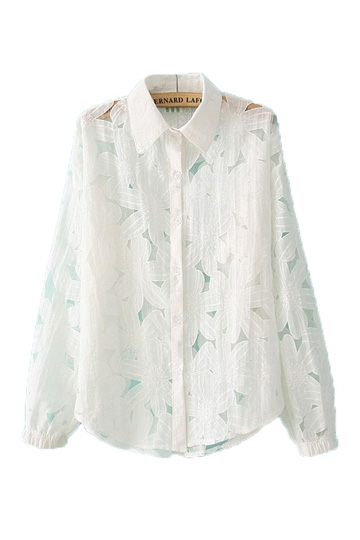 Stereo Large Flowers Cotton Shirt [FDBI00404] - PersunMall.com