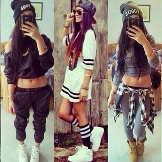 jersey sportswear cap cropped sweater crop tops joggers blouse pants hat shoes beanie sunglasses swag dope shirt dope shirt i want all three of these outfits