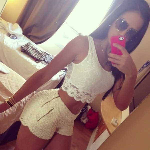 shorts crop tops fashion clothes tank top off-white white ivory