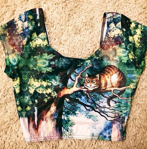 shirt top colorful cool shirts forest green le happy t-shirt crop tops le happy printed crop top grunge soft grunge