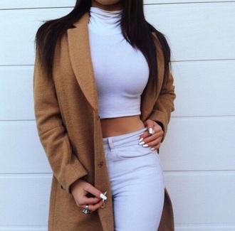 coat classy grey t-shirt grey top brown coat top pants jeans grey jeans