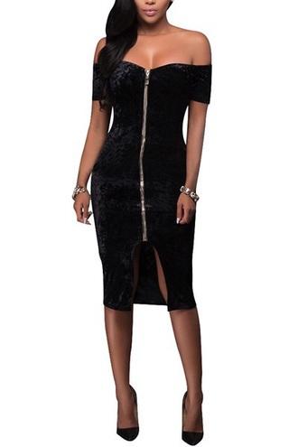 dress velvet black velvet sexy black black dress zip bodycon dress