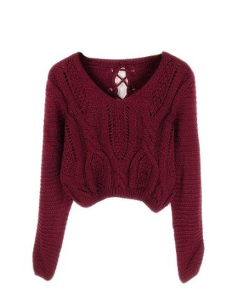 Amazon.com: PrettyGuide Women Eyelet Cable Knit Lace Up Crop Long Sleeve Sweater Crop Tops Burgundy: Clothing
