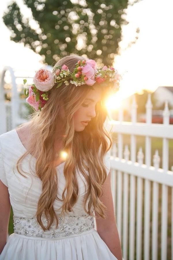 jewels flowers hipster wedding flower crown dress white dress