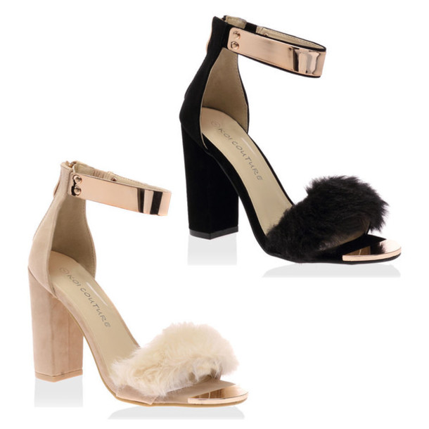 Shoes: black nude block heel fluffy fur straps strappy