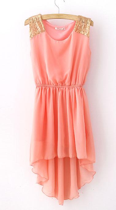 Pink Sequined Shoulder Sleeveless Dipped Hem Dress - do-a-fashion.com