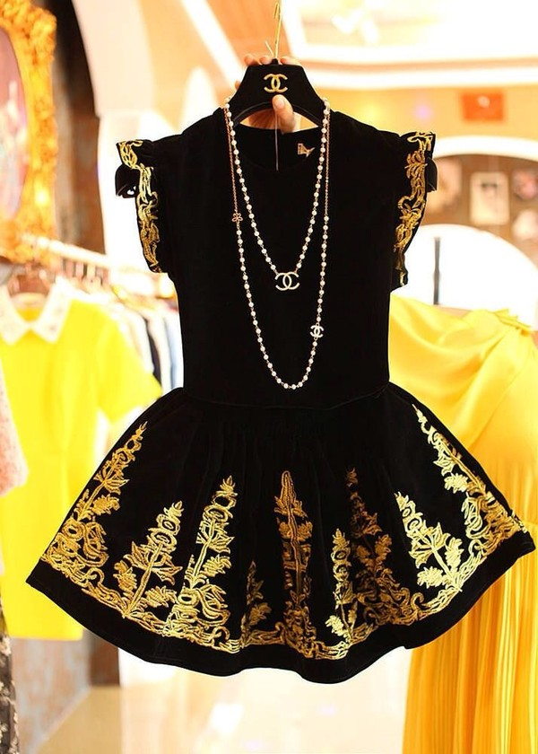 dress clothes chanel jewels little black dress gold black embroidered chanel inspired short short dress