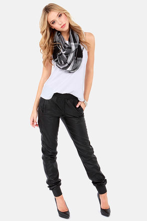 Cute Black Pants - Vegan Leather Pants - Cropped Pants - Harem Pants - $55.00