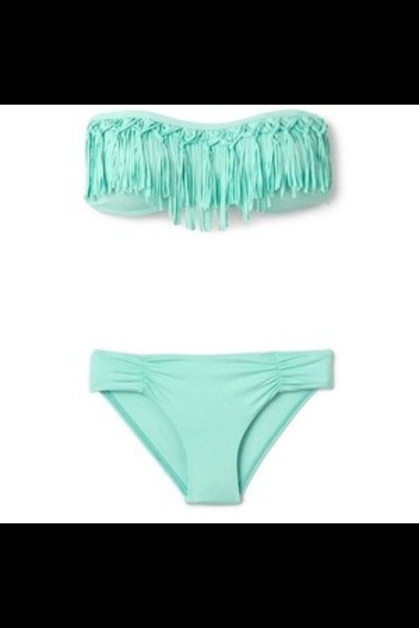 swimwear fringe bikini mint grunge hipster punk