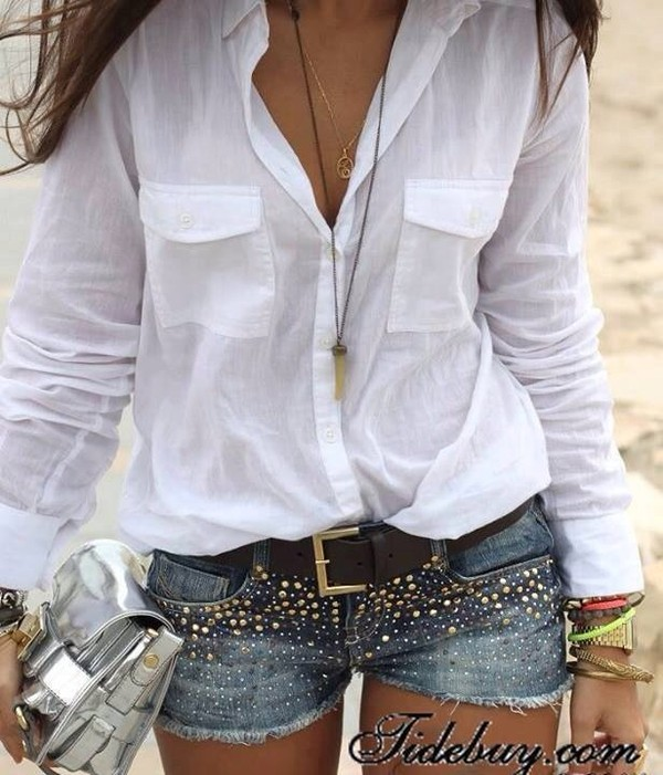 shorts cowboy nitter jewels bag belt blouse denim shorts