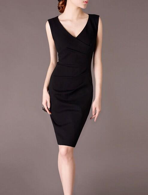 Black V-neck Elegant Noble Summer OL Slim Women Fashion Dress lml7088 - ott-123 - Global Online Shopping for Dresses