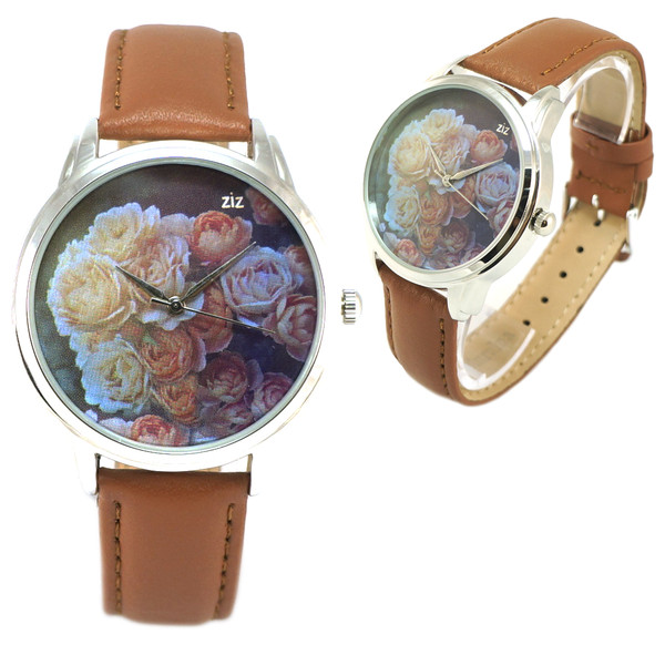 jewels flowers watch watch flowery watch brown romantic watch beautiful watch roses designer watch unique watch unusual watch leather watch ziz watch ziziztime