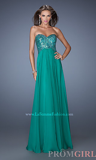 Chiffon Strapless Prom Gown, La Femme Long Prom Dresses- PromGirl