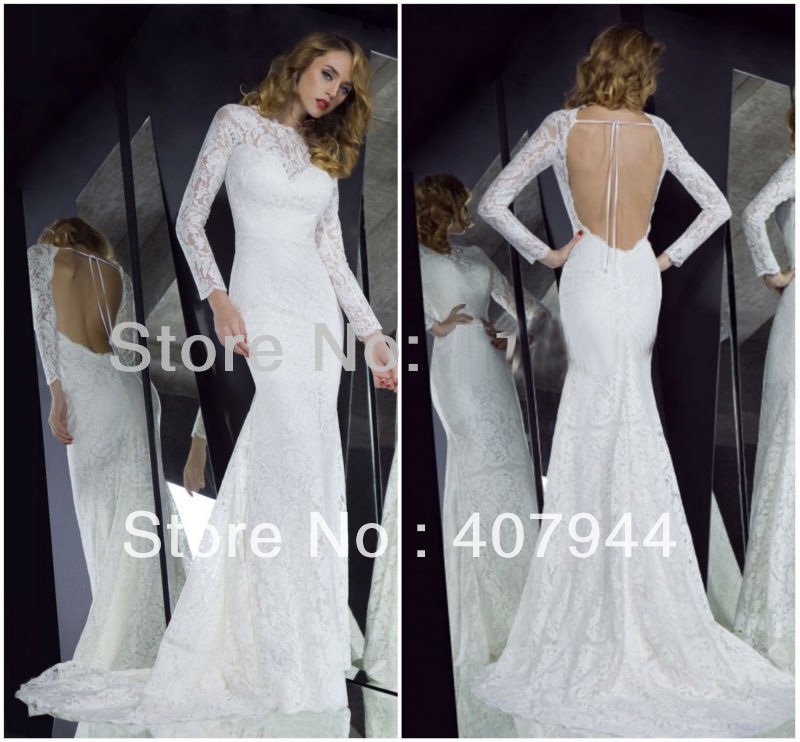 Free shipping 2013 NEW arrival white vintage lace long sleeves open back/backless see through sexy mermaid wedding dress -in Wedding Dresses from Apparel & Accessories on Aliexpress.com