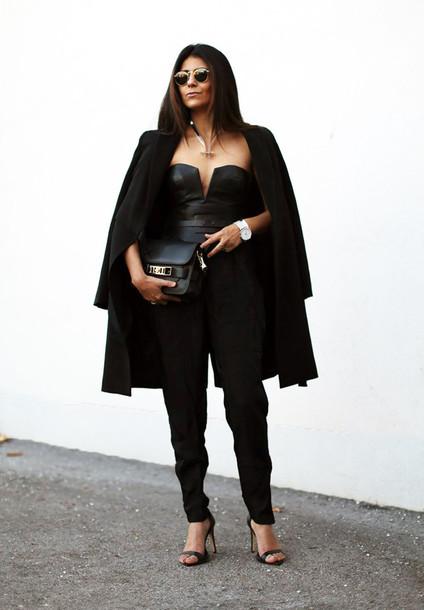 fashion landscape blogger sunglasses jumpsuit belt black coat pouch jewels shoes coat bag