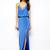 Blue Silk Spaghetti Strap V Neck Flared Front Slit Hem Maxi Dresses : KissChic.com