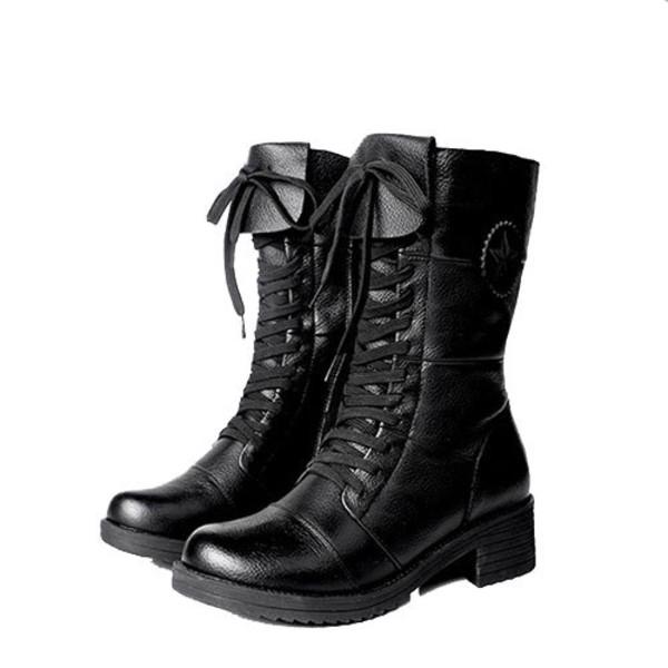 shoes boot lace up zip black