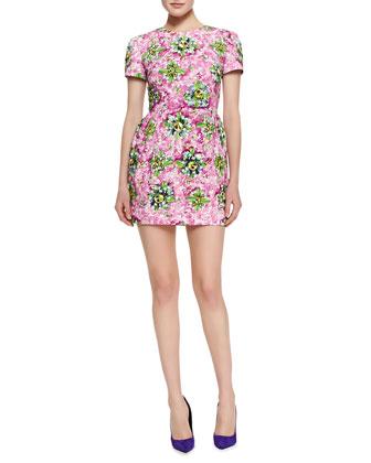 Mary Katrantzou Liv Short-Sleeve Floral & Jewel-Print Dress, Pink