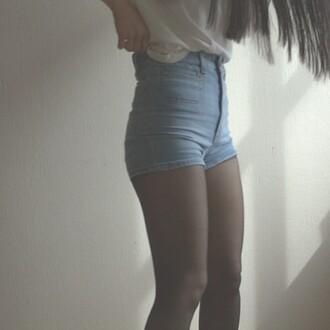 shorts sho high waisted shorts t-shirt alexa alexa loves denim shorts denim blue jeans skin white tank top tanned skinny girl pretty cute summer