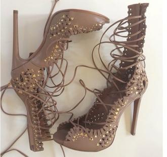 shoes rivets studds sandals girl lace-up shoes stilettos brown high heels high heels peep toe