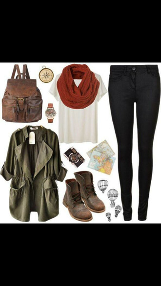 fall outfits military style scarf winter boots top leather boots jacket jeans shoes jewels bag leather backpack khaki fashion fall style coat leggings shirt gloves tank top romper
